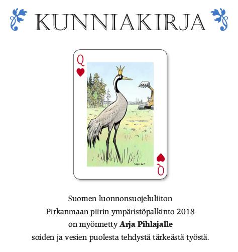 Ympäristöpalkinto 2018, kunniakirja. Piirros: Seppo Leinonen